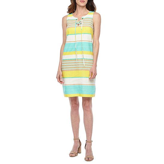 London Style Sleeveless Striped Shift Dress