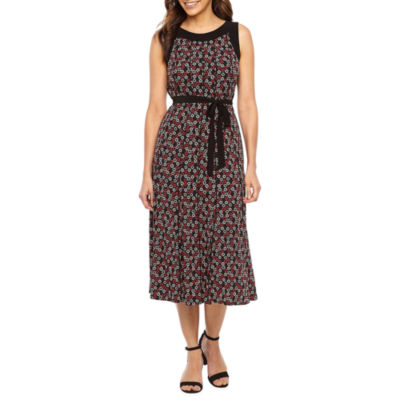 Perceptions Sleeveless Geometric Fit & Flare Dress