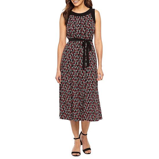 Perceptions Sleeveless Geometric Midi Fit & Flare Dress