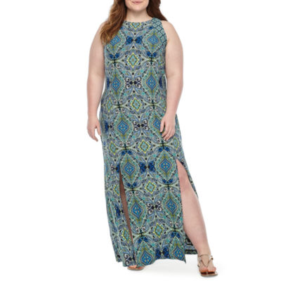 London Times Sleeveless Geometric Maxi Dress-Plus