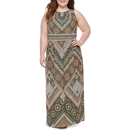 London Times Sleeveless Geometric Maxi Dress Plus