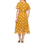 Danny & Nicole Short Sleeve Polka Dot Fit & Flare Dress-Plus