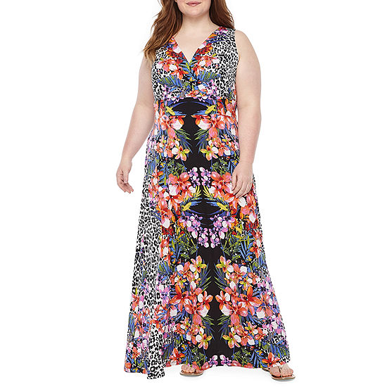 Ronni Nicole Sleeveless Animal Floral Print Maxi Dress-Plus