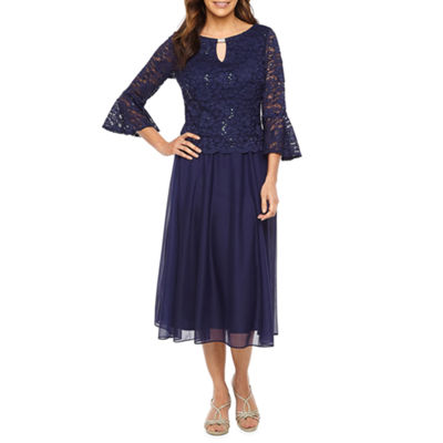 Jackie Jon 3/4 Bell Sleeve Lace Fit & Flare Dress