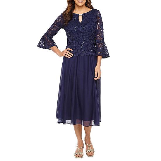 Jackie Jon 3 4 Bell Sleeve Lace Fit Flare Dress