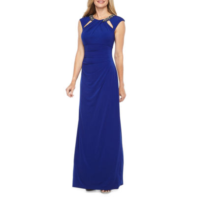 Jessica Howard Short Sleeve Cut Outs Beaded Evening Gown