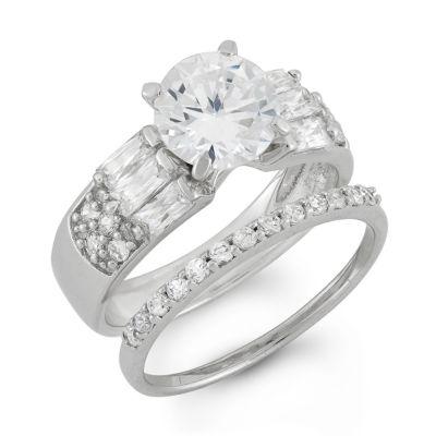 Diamonart Womens White Cubic Zirconia Bridal Set