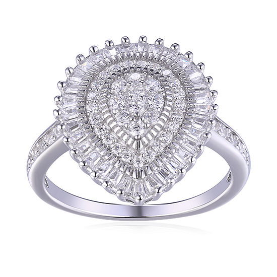 Diamonart Womens White Cubic Zirconia Sterling Silver Pear Cluster Cocktail Ring