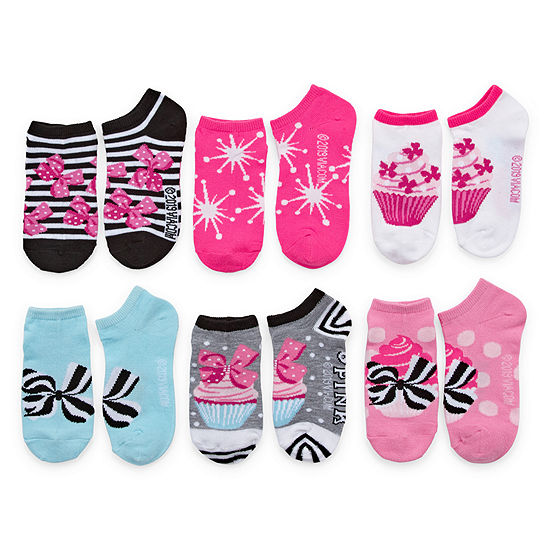 Jojo Siwa Girls 6 Pair No Show Socks Preschool 6-8.5