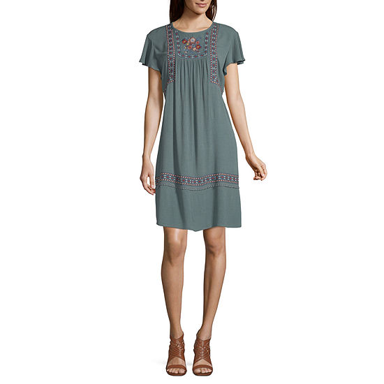 Artesia Short Sleeve Midi Peasant Dress