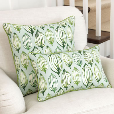 Pillow Perfect Tropical Leaf Verte Square Throw Pillow