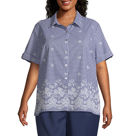 In The Navy Alfred Dunner Navy Floral Border Gingham Top Plus