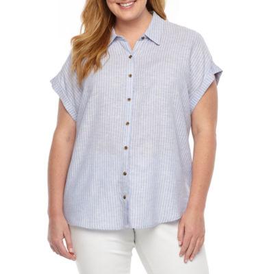 Como Blu Womens Short Sleeve Blouse-Plus