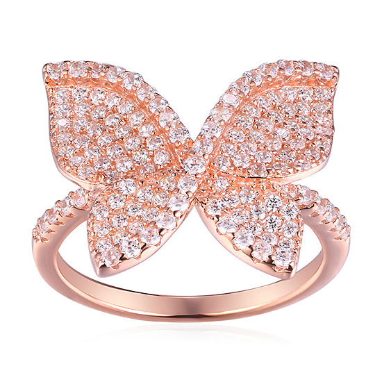 Diamonart Womens White Cubic Zirconia 14K Rose Gold Over Silver Butterfly Cocktail Ring