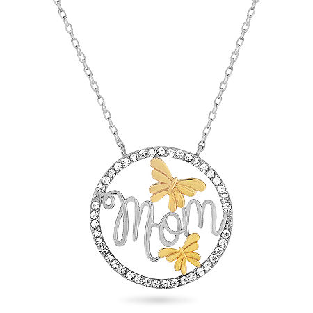 Womens White Crystal 18K Gold Over Silver Sterling Silver Round Pendant Necklace, One Size