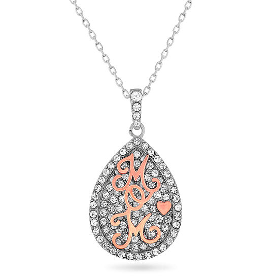Womens White Crystal 18K Rose Gold Over Silver Sterling Silver Pear Pendant Necklace