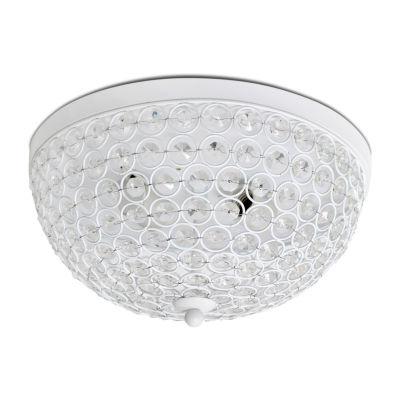 Elipse Crystal Flushmount White Flush Mount Lighting