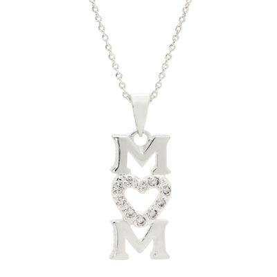 Sparkle Allure Vertical Mom Pendant Womens Pure Silver Over Brass Heart Pendant Necklace