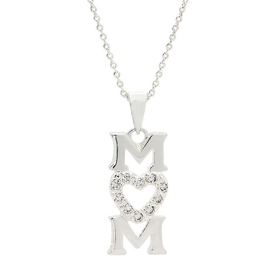 Sparkle Allure Vertical Mom Pendant Pure Silver Over Brass 18 Inch Cable Heart Pendant Necklace
