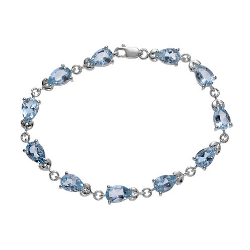 Genuine Blue Topaz Sterling Silver Bracelet