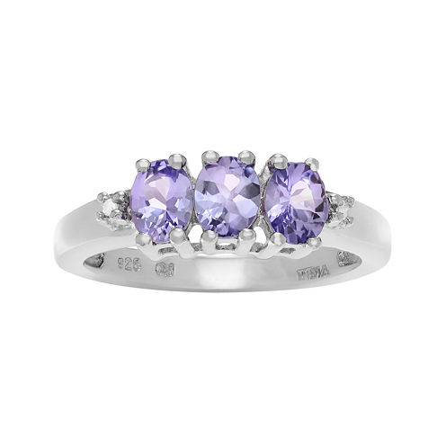 Genuine Tanzanite and 1/10 CT. T.W. Diamond Sterling Silver Ring