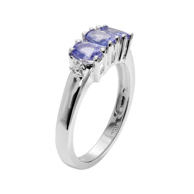 Genuine Tanzanite and 1/10 CT. T.W. Diamond Sterling Silver Ring