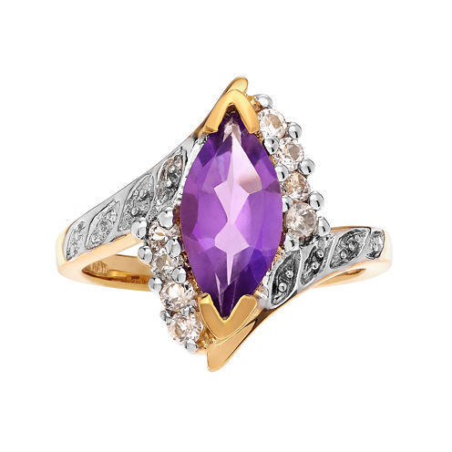 Genuine Amethyst and White Topaz 14K Gold Over Silver Ring