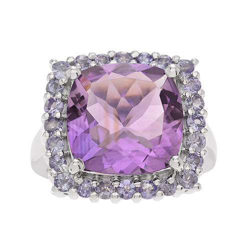 Genuine Amethyst and Tanzanite Sterling Silver Ring