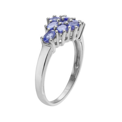 Genuine Tanzanite Sterling Silver Cluster Ring