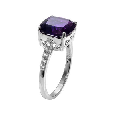 Genuine Amethyst and White Topaz Ring
