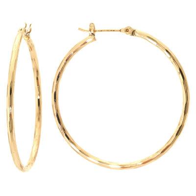 Sparkle Allure Gold Tone Diamond Cut Brass Hoop Earrings