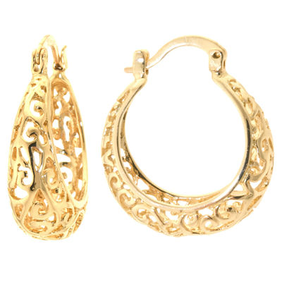 Sparkle Allure Gold Over Brass Filigree Click-Top 24mm Hoop Earrings