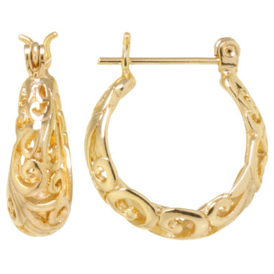 Sparkle Allure Gold Over Brass Filigree Click-Top 19mm Hoop Earrings