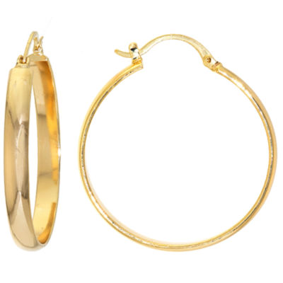 Sparkle Allure Gold Over Brass Flat High Polish Click-Top 40mm Hoop Earrings