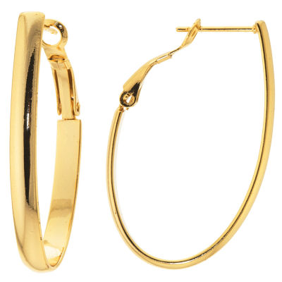 Sparkle Allure Gold Over Brass Flat High Polish Oval Clutchless 40mm Hoop Earrings