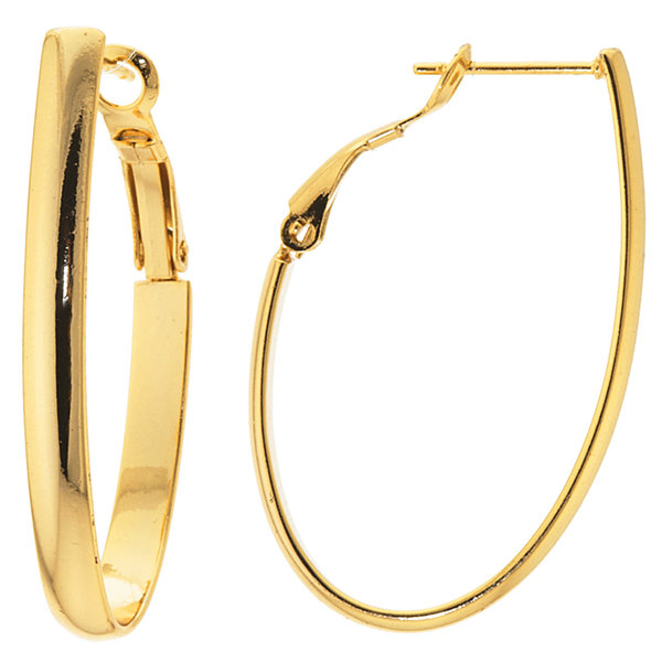 Sparkle Allure Gold Over Brass Flat High Polish Oval Clutchless Brass Hoop Earrings