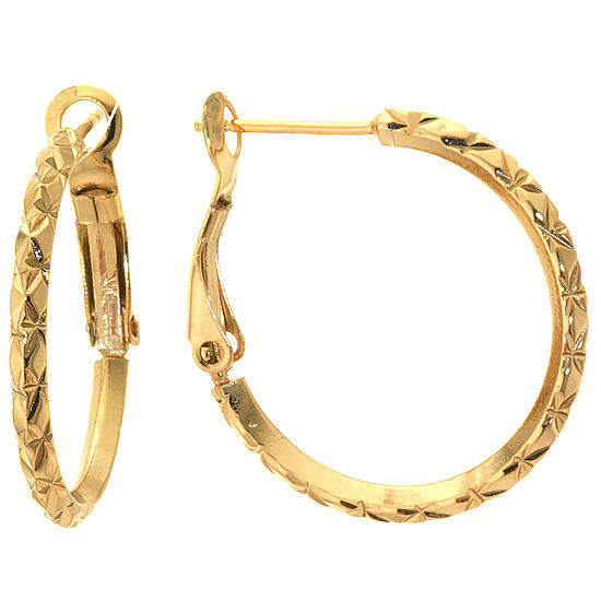 Silver Reflections 24K Gold Over Brass Hoop Earrings