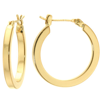 Sparkle Allure Gold Over Brass High Polish Square Click-Top 23mm Hoop Earrings