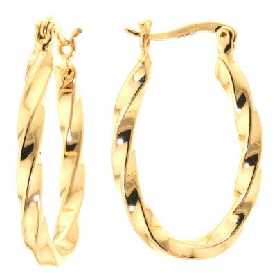 Sparkle Allure Gold Tone Brass Ribbon Twist Hoop Earrings