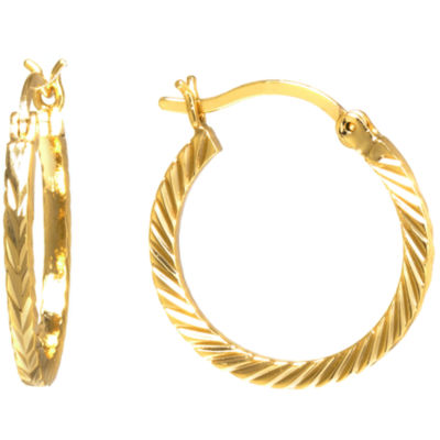 Sparkle Allure Gold Over Brass Diamond Cut Click-Top 21mm Hoop Earrings