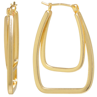 Sparkle Allure Gold Over Brass Double Click-Top 30mm Hoop Earrings