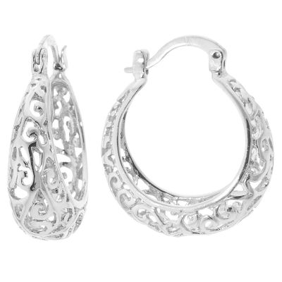 Sparkle Allure Silver Over Brass Floral Filigree Click Top 24mm Hoop Earrings
