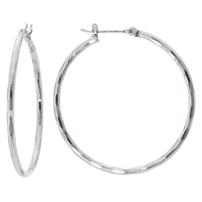 Sparkle Allure Silver Over Brass Diamond Cut Click Top Tube 40mm Hoop Earrings