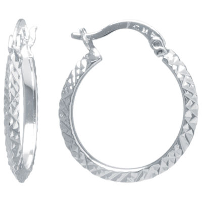 Sparkle Allure Silver Over Brass Diamond Cut Click-Top 20mm Hoop Earrings