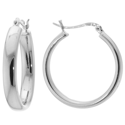 Sparkle Allure Silver Over Brass Click Top 30mm Hoop Earrings