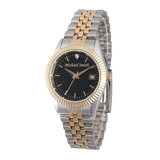 Mens Crystal Accent Two Tone Stainless Steel Bracelet Watch-Pw00176