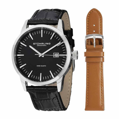 Stuhrling Mens Black Leather Strap Watch-Sp14355