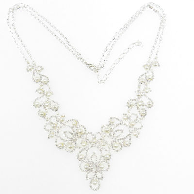 Vieste Rosa Womens Simulated Pearl Round Statement Necklace