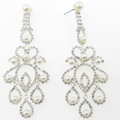 Vieste Rosa Simulated Pearl Chandelier Earrings