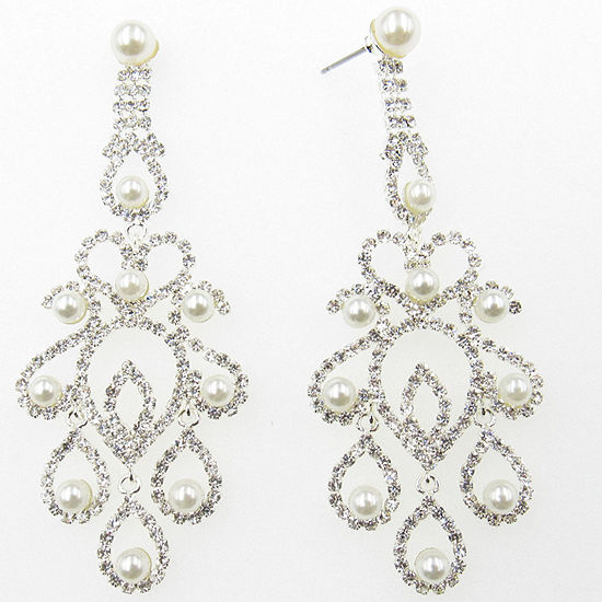 Vieste Rosa Simulated Pearl Chandelier Earrings